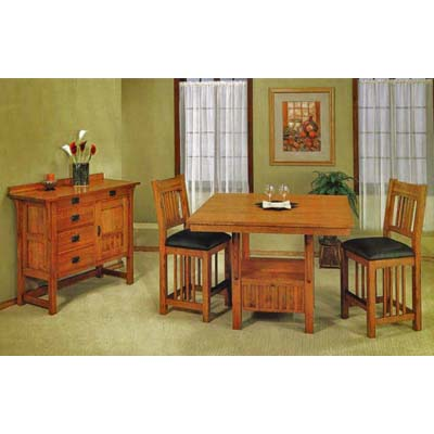 Trend manor mission pub 3 pc dining room set w server for 3 pc dining room set