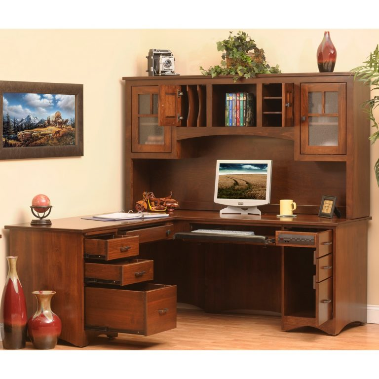 Prairie Mission 650-641 L-Desk _ Hutch Open
