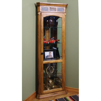 Rustic Oak Curio Corner Cabinet