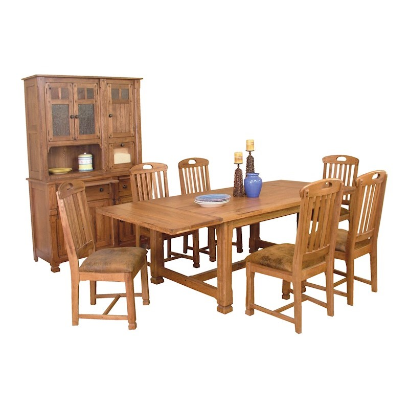sunny designs rustic oak dining room table 6 chairs two piece hutch