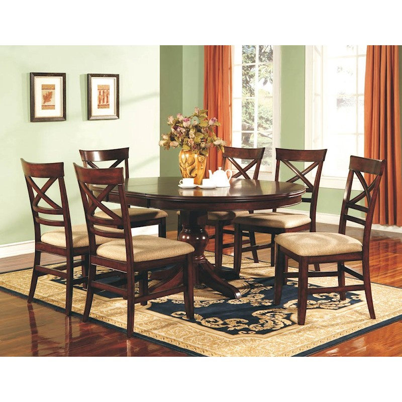 Winners Only Topaz Cherry 7 Piece Pedestal Dining Room Set