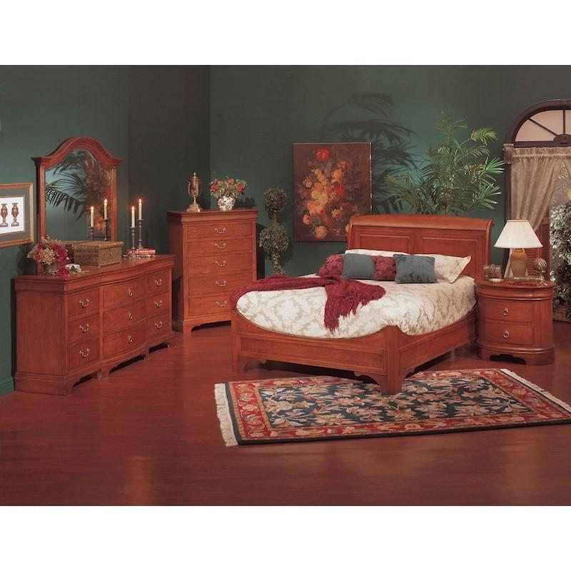 winners only renaissance sleigh bedroom set stewart roth 4 piece victorian renaissance cherry king sleigh bed
